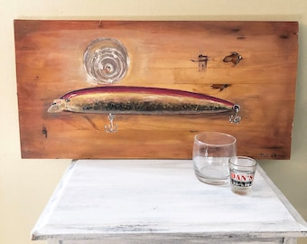 acrylic purple Painting on wood fishing lure and a shot glass on a bar pink original