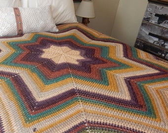 8 PointRound Ripple Afghan - Crocheted Afghan - Handcrafted Blanket - Star Afghan