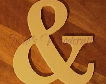 Ampersand and & wooden symbol sign Mr and Mrs