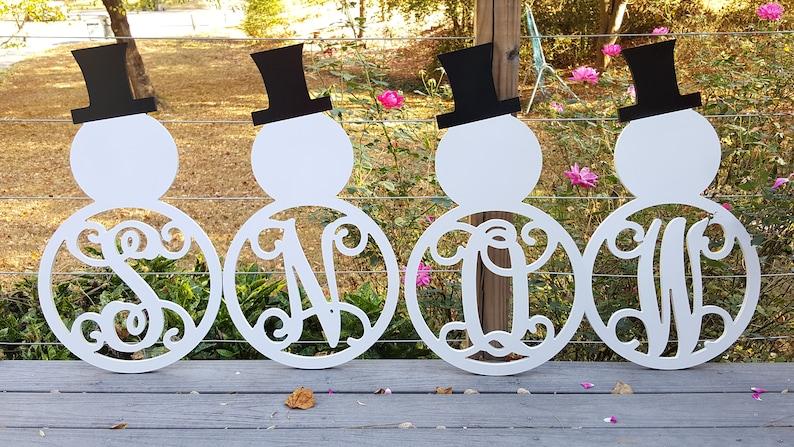 Snowman monogram wooden door hanger with initial wreath