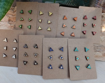 Sierpinski Triforce 3 Studs Wooden Earring Set, Minimalist Geometric Triangle, Stainless Steel Post,   Women, Teens, Unisex, Kids