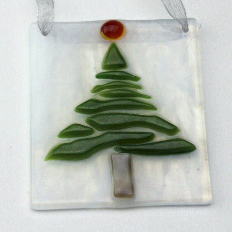 Set Of 3 Fused Glass Tree Ornaments Glass Christmas Tree Etsy