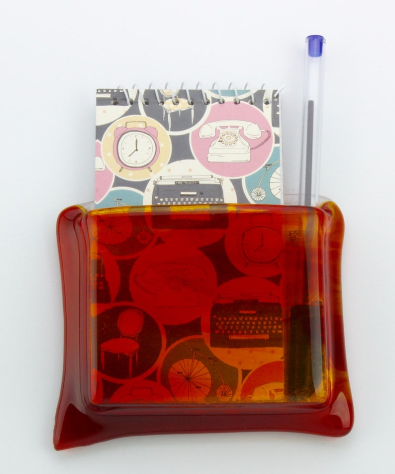 Red and yellow glass hanging notepad holder  Red and yellow image 0