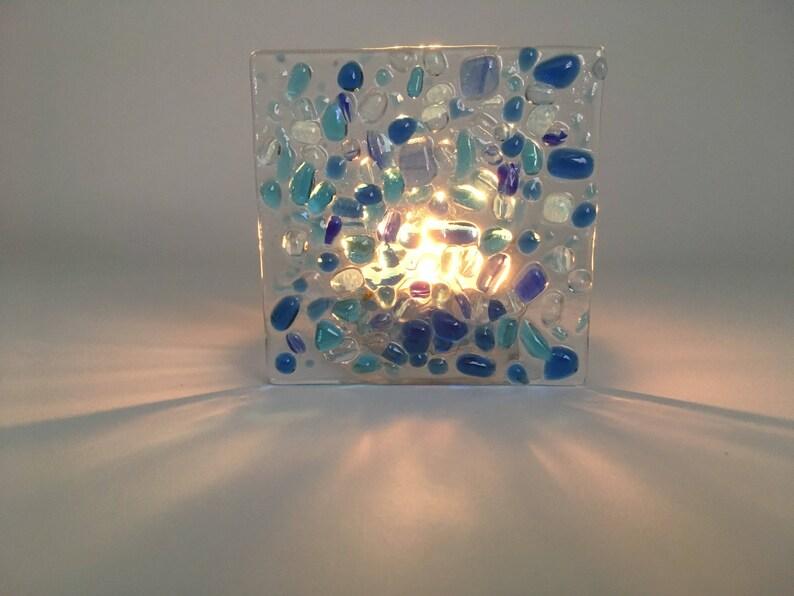 Blue glass tea light holder  Handmade glass tea light candle image 0