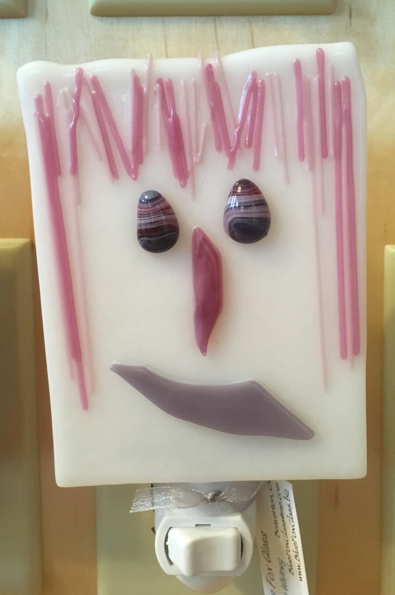 Fused glass night light / Funky face night light / Whimsical Pink on white