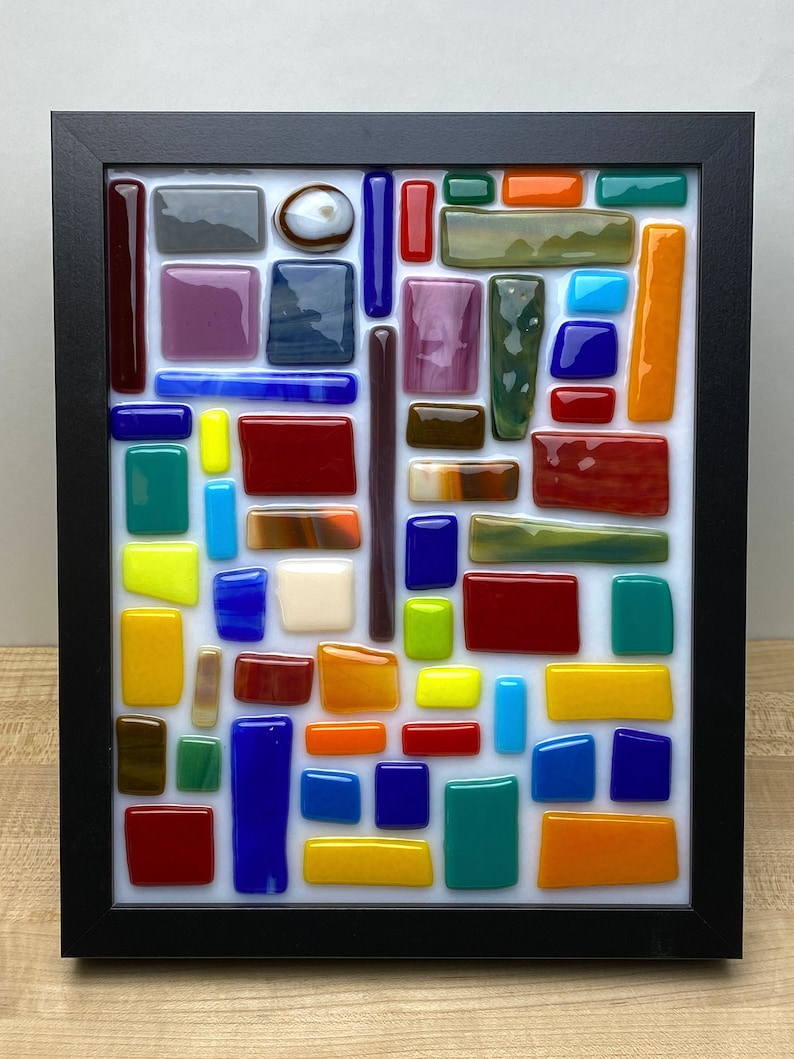 Fused glass desk art  Fused glass wall art  Whimsical glass image 0