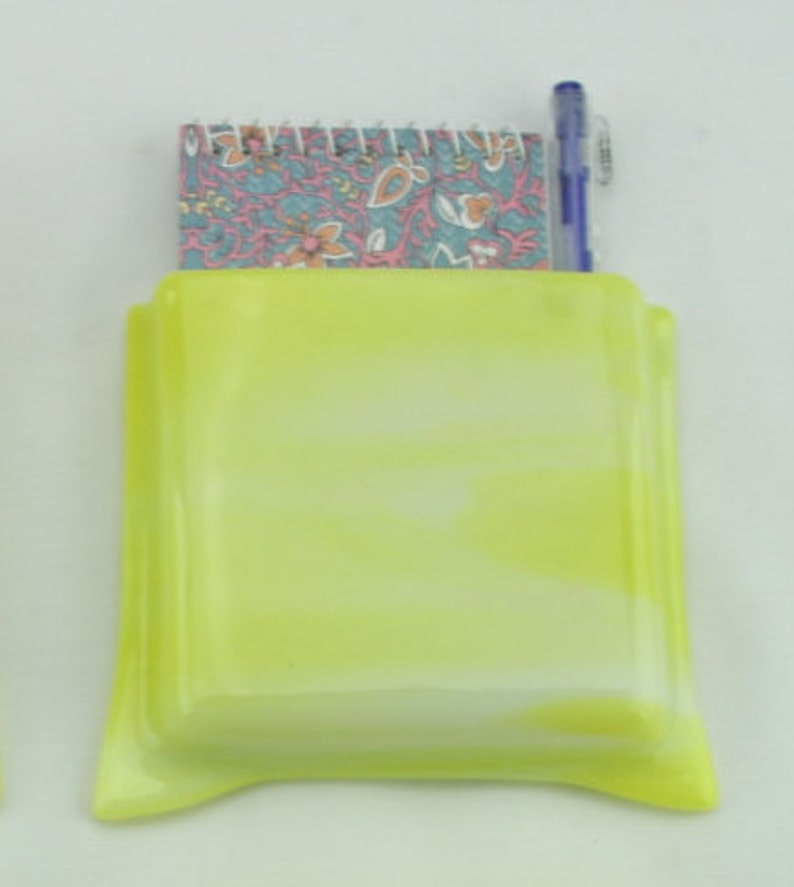 Yellow and white glass magnetic notepad holder  Yellow and image 0