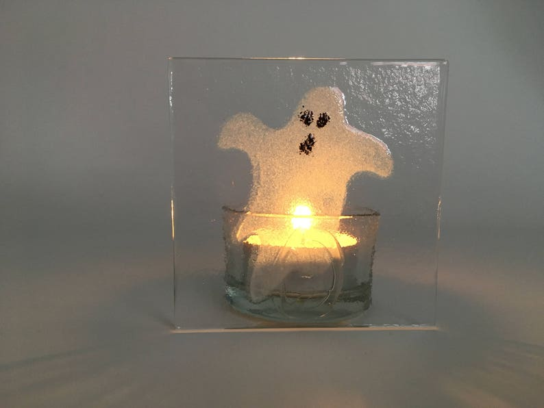 Ghost tea light holder  Halloween tea light holder  Handmade image 0