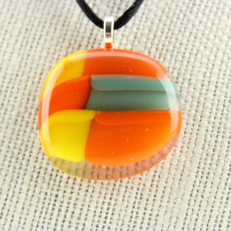 Orange yellow and teal fused glass necklace  Multi-colored image 0
