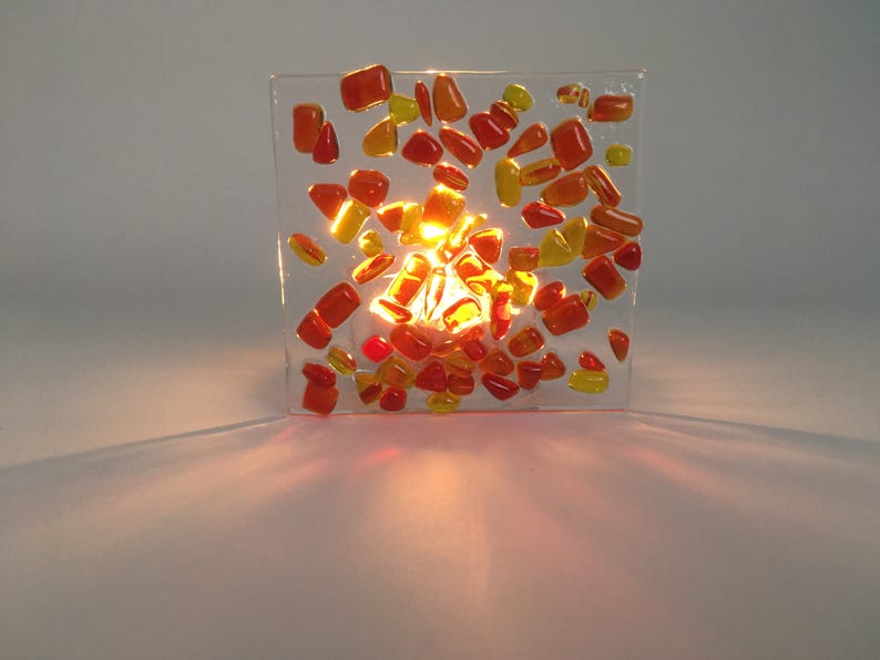 Red and yellow glass tea light holder  Handmade glass tea image 0