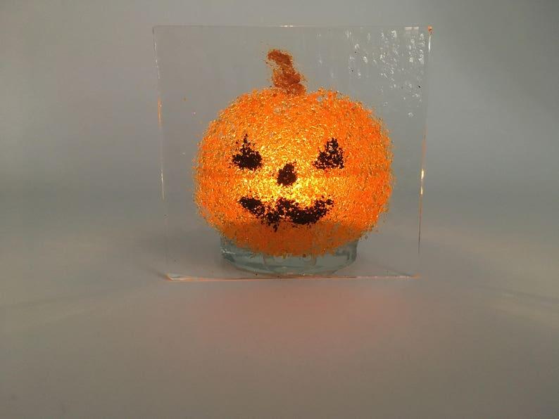 Jack o'lantern tea light candle holder  Pumpkin tea light image 0