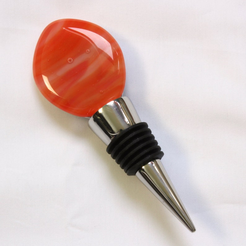 Orange and white glass and stainless steel bottle stopper image 0