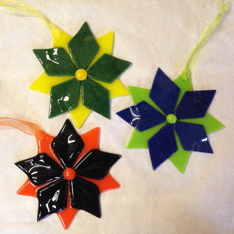 Set of 3 Glass star Christmas tree ornaments  Blue and green image 0