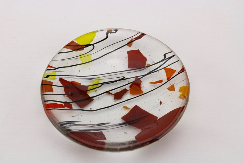 Multi-color glass candy dish  Fused glass ring holder  Glass image 0