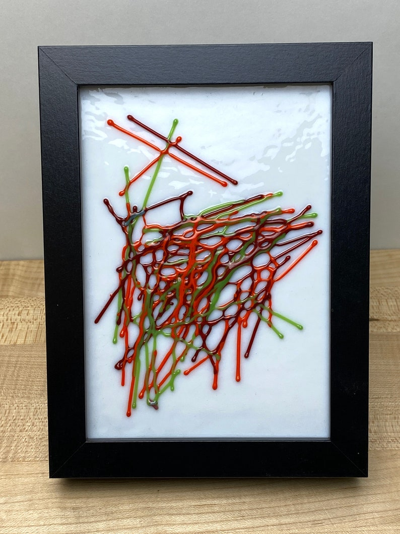 Fused glass desk art  Fused glass wall art  Whimsical glass Multi-color #1