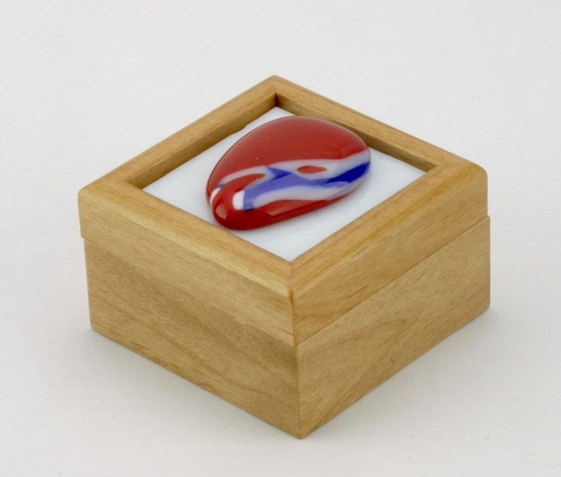 Glass and wood ring box  Treasure box  Jewelry box  Trinket image 0