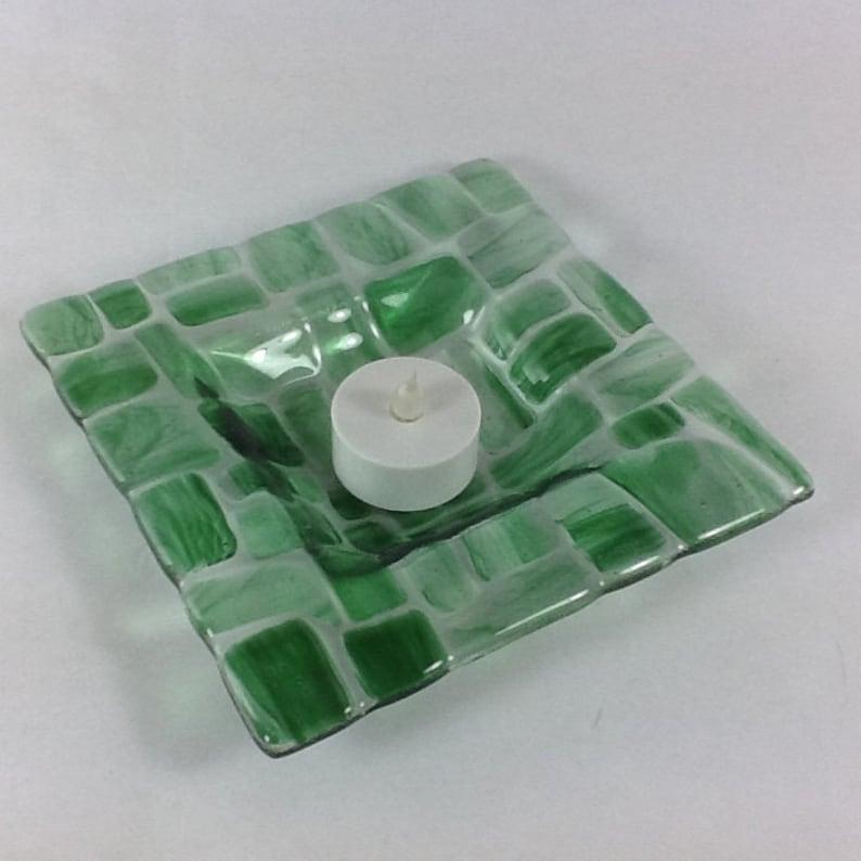 Green glass dish  Candle holder  Trinket dish  Tea light image 0