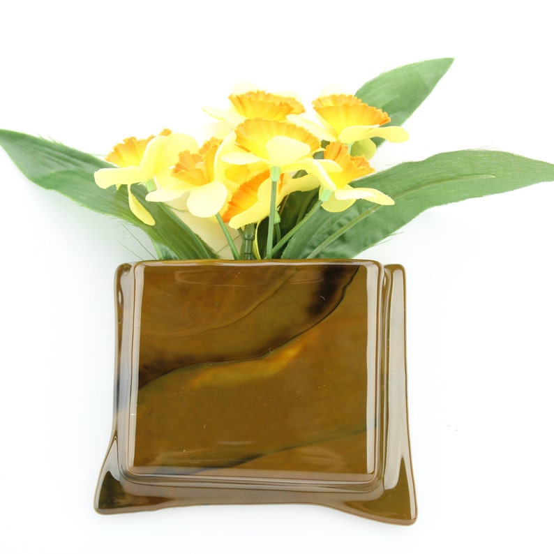 Brown hanging notepad holder  Brown glass hanging flower vase image 0
