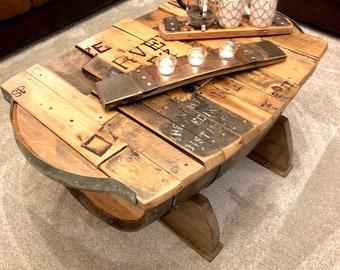 Oak Table   Oak Furniture   Coffee Table   Reclaimed Handmade Coffee Table    Oak Barrel   French Wine Crates