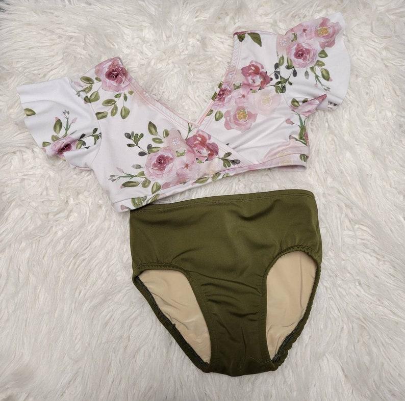 mauve Photo shoot blush and olive  Floral Flutter Sleeve 2 piece Girls Dance Set Girls Dancewear Dance Convention Dance Class Cream
