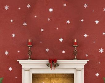 42 Pc   Snowflake Wall Decals   Christmas Decals   Christmas Wall Decal    Holiday Decals   Winter Wall Art   Christmas Party Ideas