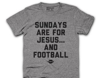 fca28d8654 Jesus and Football Funny Fall Unisex Tshirt - Halloween - Sundays - Church  - Fantasy football mom