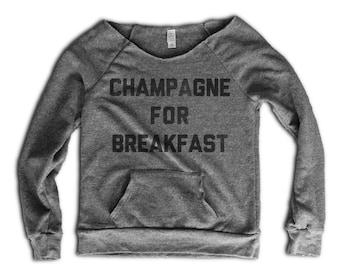 d953a000 Champagne for Breakfast Women's Sweatshirt - Champagne Shirt - Funny  ChampagneSweatshirt - Womens Sweater - Mimosa Shirt