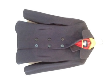 d5007b6db0 HOLIDAY SALE----Vintage Navy Blue Lands  End Peacoat with red lining -  Nautical Buttons - USA - Size 10