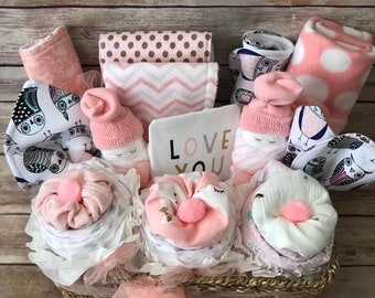 4bf730822dc18 Baby girl gift basket baby girl shower gift infant layette newborn hamper  corporate baby gift welcome baby gift basket girl
