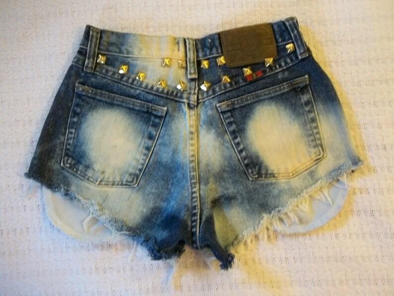 25 plus Waist Vintage 80s-90s HighWaist Acid Washed Brass Studded Wrangler Calgery Jeans Cut Off Shorts XSmall