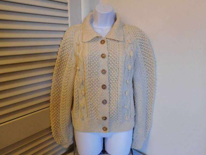 3f5ee000d47 Vintage Tivoli Hand Knit Cardigan Knit Sweater 100 Percent Wool Size Large  Or X Large 44 inch Chest Off White Cream Color C