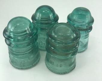 Teal Glass Insulators Hemingray Set/4 (Assorted No. 12, 10, 9)