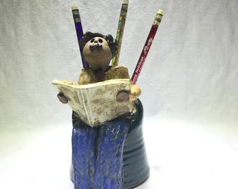 Ceramic Pen Holder Desk Set Artist Signed