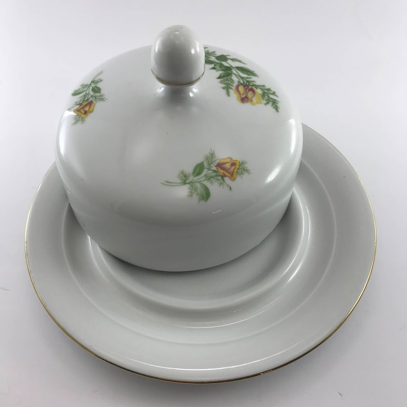 Germany Round Covered Dish by Kahla made in GDR Yellow Roses