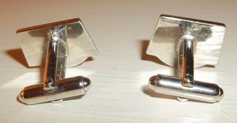 Vintage 1960s Signed ANSON Eagle Cufflinks Set Silver Tone Metal /& Gray Enamel