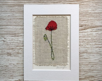 Poppy Original Embroidery Artwork Free UK Shipping