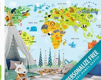 Nursery Animal World Map Peel Stick Wallpaper FREE Etsy - World map mural for kids