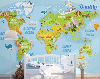 Nursery wallpapers etsy nursery wallpaper fun educational world map non woven wall covering free shipping washable murals kids wall art educational nursery gumiabroncs Images
