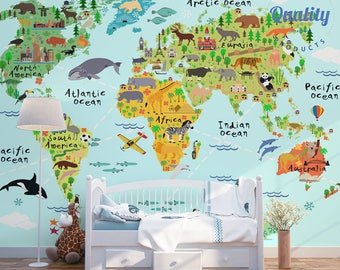Animal world map canvas print free shipping for kids and world map wallpaper with animals landmarks and sights non woven wallpaper free gumiabroncs Gallery