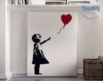 Girl With a Balloon inspired by Banksy, streetart, canvas print, There Is Always Hope, home art, wall art, graffiti canvas, Banksy art, love