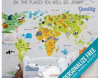 Nursery Animal World Map Peel Stick Wallpaper FREE Etsy - World map wallpaper for nursery