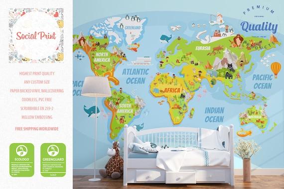 Nursery wallpaper fun educational world map non woven wall etsy image 0 gumiabroncs Gallery