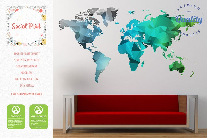 0d29f11e67 World map wall decal Silver Teal Green / FREE SHIPPING / Easy   Etsy