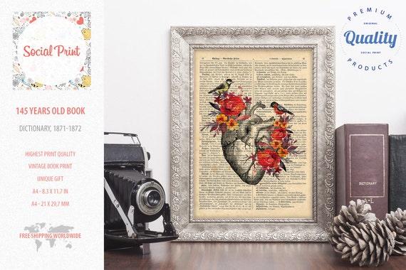 Herz Blumen Vintage Anatomie kostenlose Versand 145 Jahre alt   Etsy