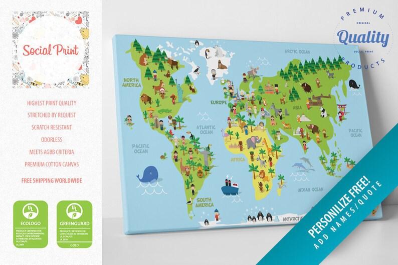 Kindergarten pädagogische Kinder Weltkarte Leinwand Druck / | Etsy