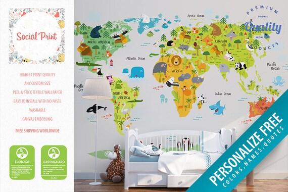 Nursery animal world map peel stick wallpaper free etsy image 0 gumiabroncs Gallery