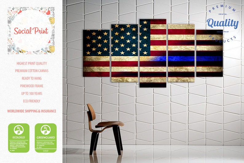d01a697a1d25a US Flag Canvas Set of 5 Panels Ready to Hang Wall Décor / Flag Print / FREE  SHIPPING / Free Tnt/FedEx shipping / Grunge