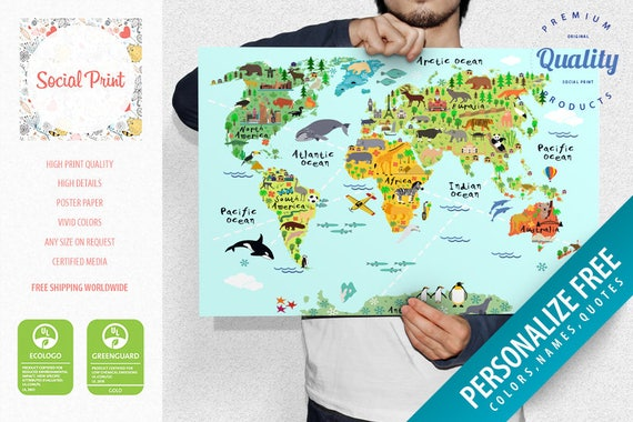 Animal world map with landmarks sights poster print free etsy gumiabroncs Image collections