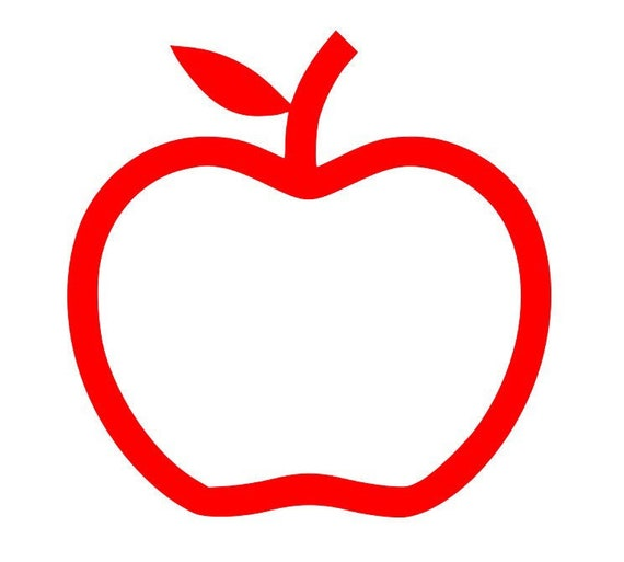 Apple Outline Svg Apple Svg Teacher Svg Teacher Gift Svg Etsy