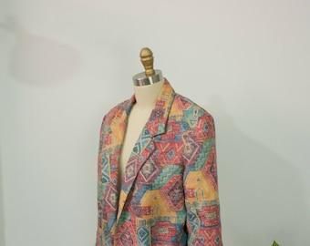 Vintage Southwestern Print Blazer Jacket with Pockets Size L